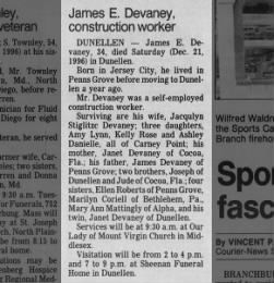 Devaney, James E. (1962-1996) Obit