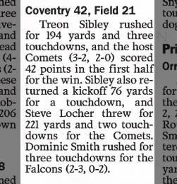 Coventry 42, Field 21. 9/24/2016