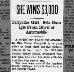Verna Cargould decision in court for getting hit The Akron Beacon Journal 15 July 1916 Sat