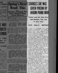 Verna Cargould Law Suit for Poisoning The Akron Beacon Journal 21 March 1922 Tue