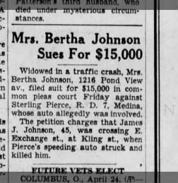 Mrs Bertha Johnson sues when husband, James J Johnson, 45, was crossing a road.