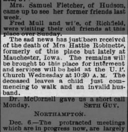 Death of Mrs. Hattie Robinette - The Summit County Beacon (Akron, Ohio) 07 Dec 1887 - RESEARCH