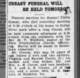 Samuel Curtis Creasy obituary