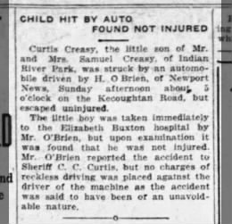 Samuel Curtis Creasy Jr. accident