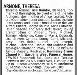 Theresa Gaudio Arnone - Obituary