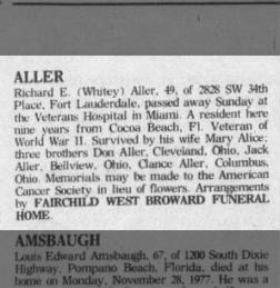 Aller - Richard 1977 Florida Obit