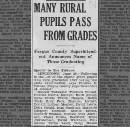 8th GRADE GRADUATES -  Clipped from Great Falls Tribune, 27 Jun 1935, Thu, Page 12