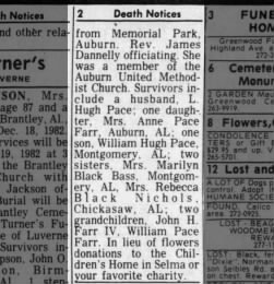 Anne Winogene Black obituary part 2, The Advertiser (AL) 19 Dec 1982, pg 76