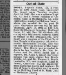 Eugenia Pearl Enzor Booth; Obituary; 1992; 101 years old