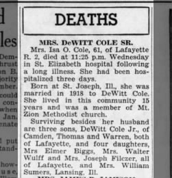Obit for Isa Oten Woodin Cole.