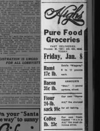 Grocery store prices, Georgia, 1915