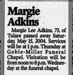 Margie Lee Adkins, age 73, obituary. 2004.