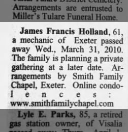 Obituary for Helen Holland's oldest son.
