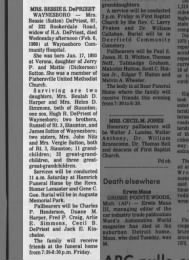 Bessie Sutton DePriest Obit 1980