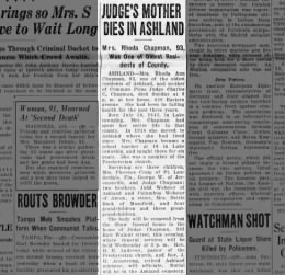 Rhoda Webster Chapman obituary News-Journal Mansfield OH 26 Oct 1936 Mon