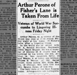 Arthur Perone's Obituary. 13 May1933. Wanda's Father.