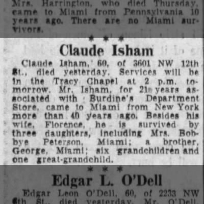 Claude Isham obituary 1958