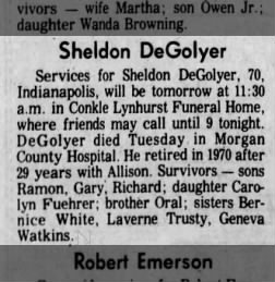 Sheldon DeGolyer's obituary