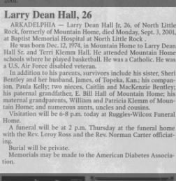 Larry Dean Hall, Obit