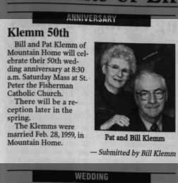 Bill and Pat Klemm 50th