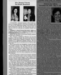 Benite Broussard (Mrs Romain Vincent) Obit 20 May 2012