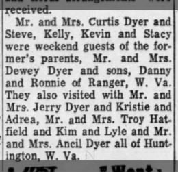 Dyer Dewey Ohio guests 1965 family in W. VA also mentioned