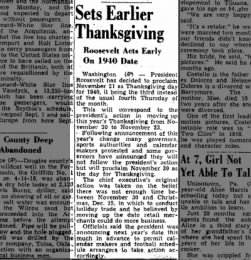 President schedules Thanksgiving for 1940