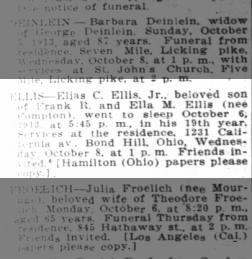 Death notice - October 7, 1913