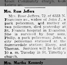Moran, Rose Anne 1953 Obit