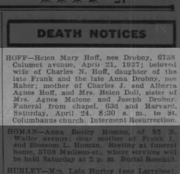 Helen Mary Hoff obit, wife of Charles N Hoff
