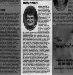 Obituary for Anna Marie Umlauf Kronner
