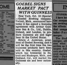 Guinness signs market Pact with Guinness Oct 19, 1954
