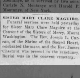 Maguire_Sister Mary Clare 1926 funeral