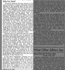 Editorial: Purpose of Battle of Iwo Jima is to