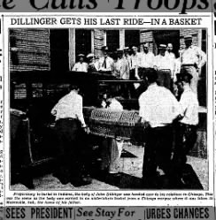Dillinger's body en route to Indiana