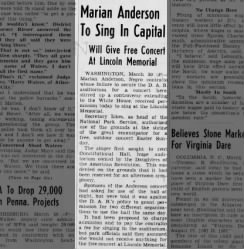 Marian Anderson to Sing in Capital
