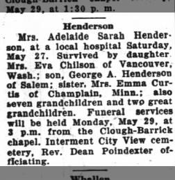 Adelaide Sarah Henderson_obituary_28May1939