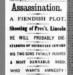 Headline following Lincoln's assassination