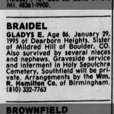 Obituary - BRAIDEL GLADYS E. Age M. January 19, 1995 of...