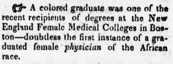 Rebecca Lee Crumpler graduates from New England Female Medical College