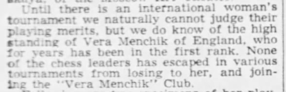 Vera Menchik in high standing in chess world