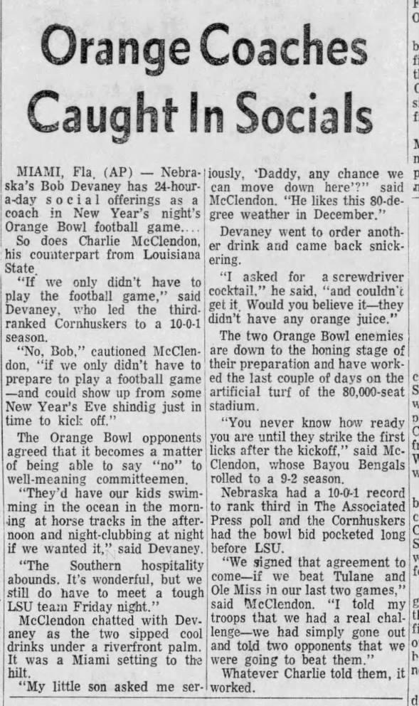 1970 Orange Bowl social