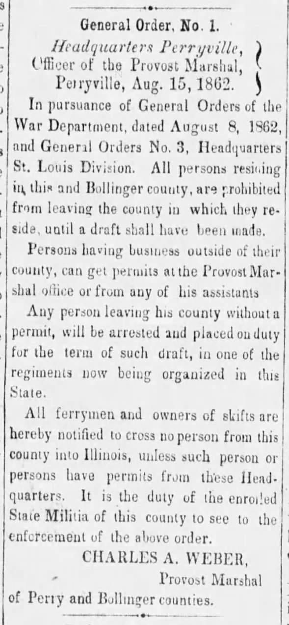 Perryville Weekly Union August 16, 1862