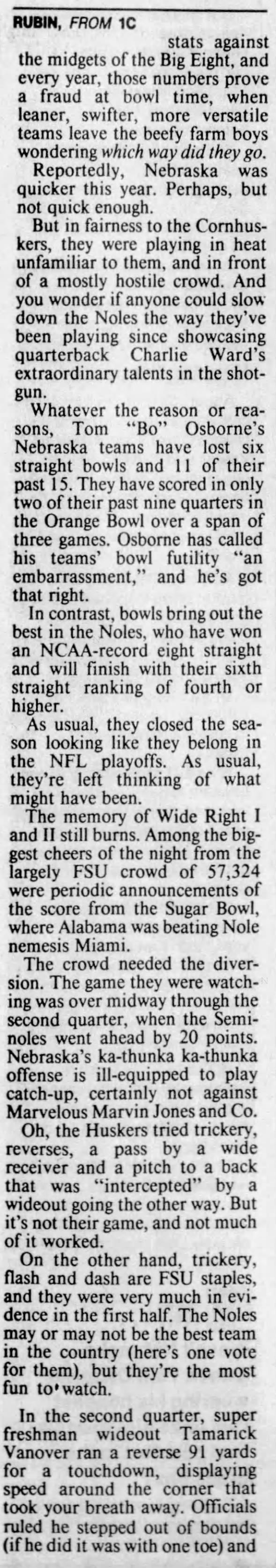 1993 Orange Bowl, Rubin column 2