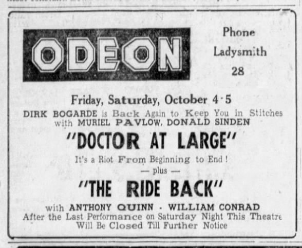 Odeon Ladysmith final show October 5, 1957