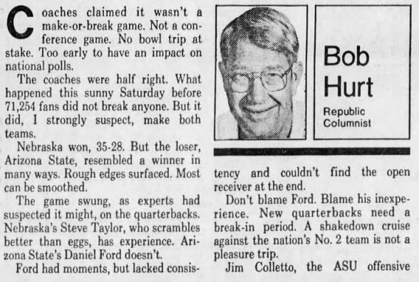 1987 Nebraska-Arizona State football, Bob Hurt column 2