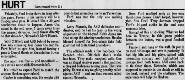 1987 Nebraska-Arizona State football, Bob Hurt column 4