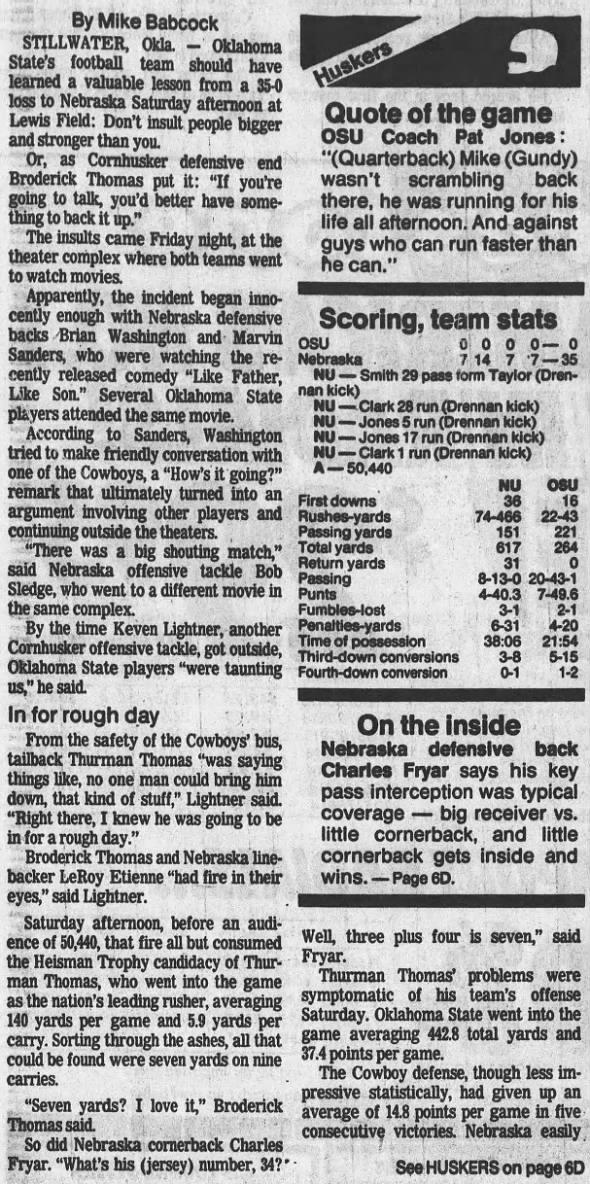 1987 Nebraska-Oklahoma State football, LJS1