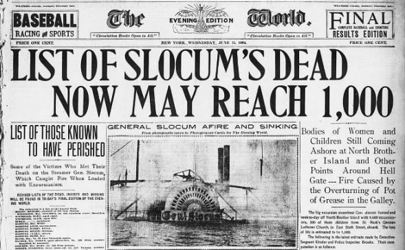 Same-day front page about the General Slocum disaster