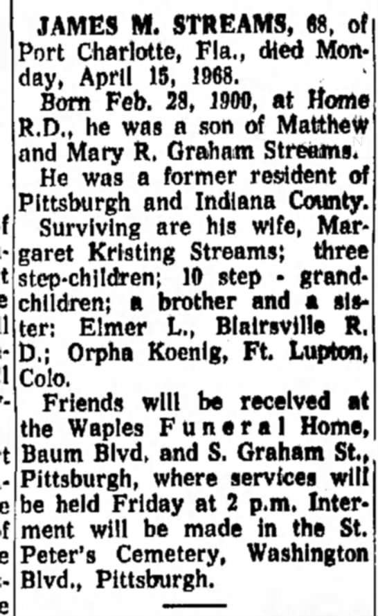 Obit @ Waples Funeral Home - of JAMES M. STREAMS, 68, of Port Charlotte,...